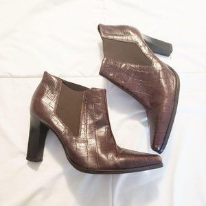 Arezzo Brown Leather Pointed Ankle Booties Size 36
